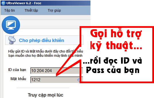 Cửa sổ chương trình hỗ trợ điều khiển máy tính từ xa TeamViewer